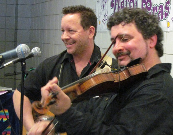 Robert Sylvain and Haakon Kallweit of the Cajun Aces perform live music Tuesday, Feb. 12, 2013, during the 18th annual Fat Tuesday Cajun Cooking Challenge hosted by WMPG radio and the University of Southern Maine
