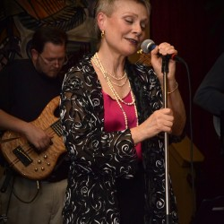 "Molly Pitcher sings jazz with the new band, Interplay"" at Nocturnem Draft Haus in Bangor last month."