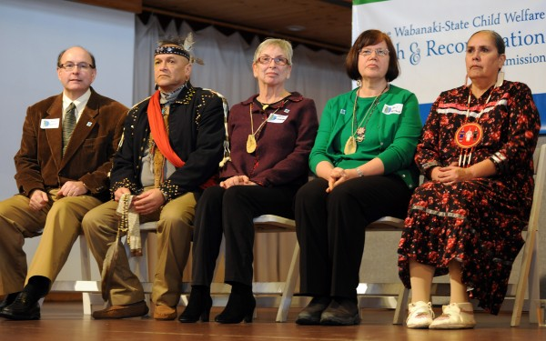 The five commissioners of the Maine Wabanaki-State Child Welfare Truth and Reconciliation Commission:  Matthew Dunlap (left), gkisedtanamoogk, Carol Wishcamper (center), Gail Werrbach and Sandra White Hawk (right).