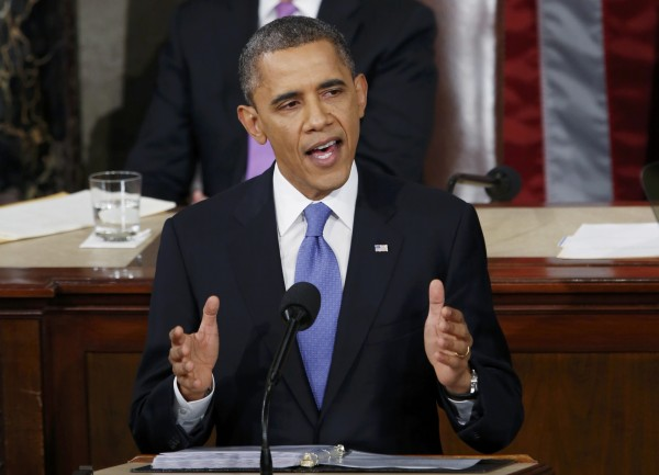 U.S. President Barack Obama delivers his State of the Union speech on Capitol Hill in Washington, Feb. 12, 2013.