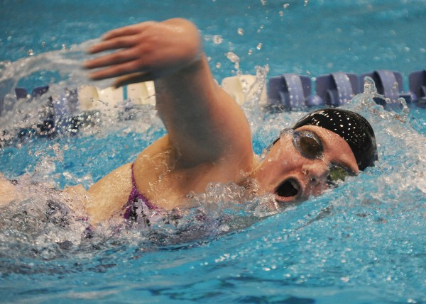 Bangor swimmer Alyssa Reardon competes in the 500-meter freestyle Tuesday during the 35th annual girls' PVC Swimming and Diving Championship at UMaine's Stanley Wallace Pool. Reardon took third in the event with a time of 5:47.43.