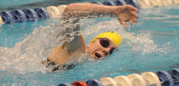 MDI swimmer Erin Connery competes in the 500-meter freestyle on Tuesday during the 35th annual girls' PVC Swimming and Diving Championship at UMaine's Stanley Wallace Pool. Connery won the event with a time of 5:39.13.