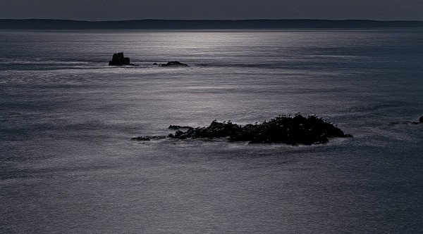 Sail Rock and nearby outcroping rock backlit in moonlight. Sleeping gulls can be seen silhouetted on near rocks.