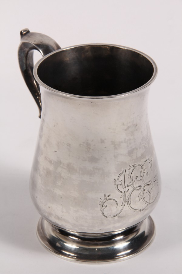 18th Century American coin silver tankard that brought $5,750 at Thomaston Place Auction Galleries