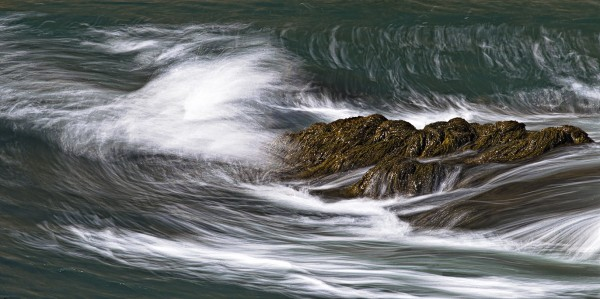 Ethereal ocean interaction with submerged rockweed laden outcrop at Quoddy Head State Park