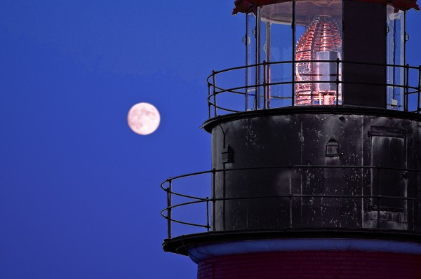 West Quoddy Head Lighthouse and full moon