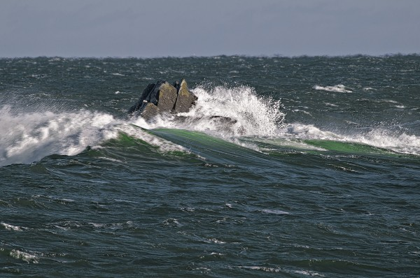 Surging sea swells engulf Sail Rock at Quoddy Head State Park