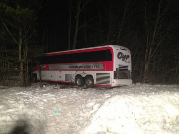 A Cyr Bus Line motorcoach transporting the University of Maine women's basketball team to Boston for a Wednesday night game was involved in an accident on I-95 in Georgetown, Mass., Tuesday night that seriously injured the driver.
