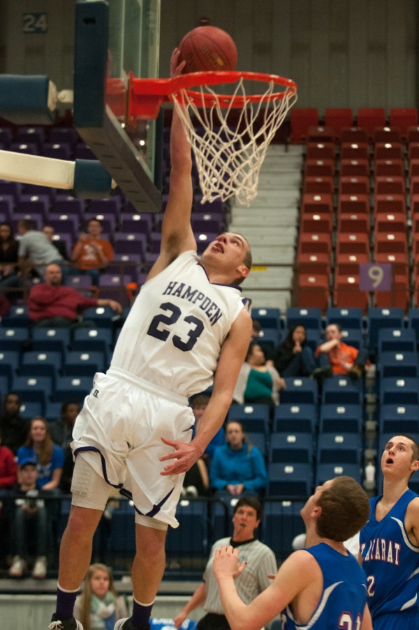 Hampden's Zach Gilpin makes a layup against Mount Ararat during the first half at the Augusta Civic Center on Saturday, February 16, 2013.