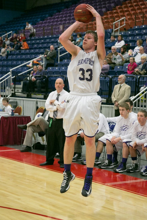 Hampden's Matt Palmer shoots a three-point shot during the second half at the Augusta Civic Center on Saturday, February 16, 2013.