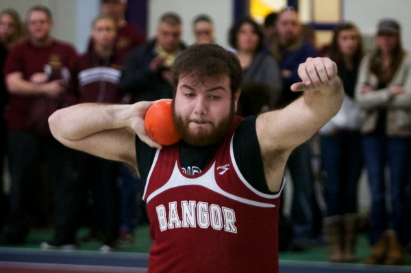 Bangor High School's Scott Murray competes at the Class A State Indoor Track Championships in Gorham Monday. Murray placed sixth overall.