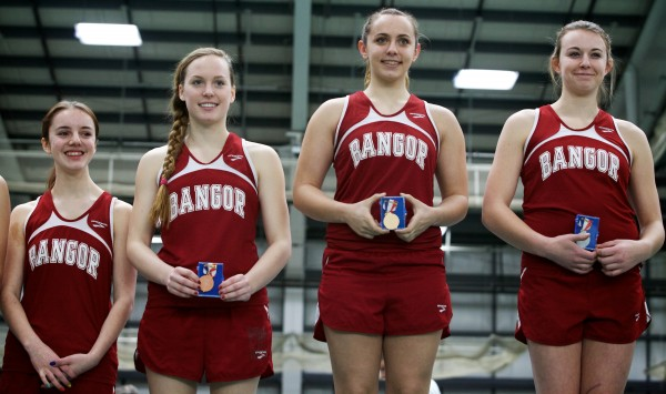 Bangor High School pole vaulters did well Monday at the Class A State Indoor Track Championships in Gorham. From left are, Danielle Clark, fifth place, Morgan Johnson, third place, Courtney Lizotte, first place, and Abby Reynolds, second place.