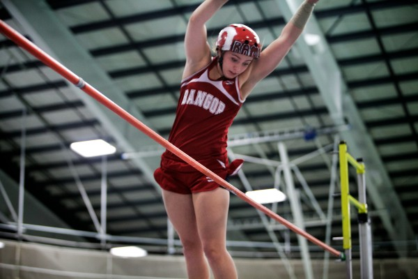 Bangor High School's Courtney Lizotte clears the bar at the Class A State Indoor Track Championships in Gorham Monday. Lizotte placed first overall.