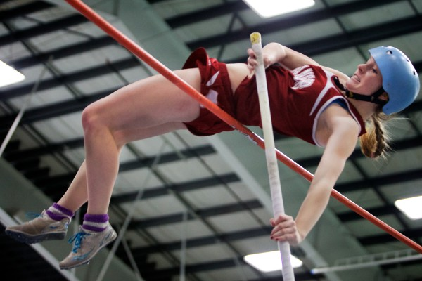 Bangor High School's Morgan Johnson clears the bar at the Class A State Indoor Track Championships in Gorham Monday. Johnson placed third overall.