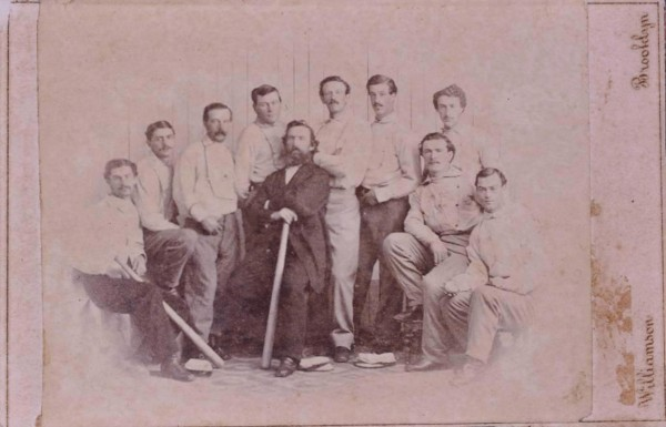 A rare 1865 baseball card showing the Brooklyn Atlantics baseball team, discovered at a Maine yard sale and considered one of the first baseball cards ever, is seen in an undated handout picture provided by the Saco River Auction Co. February 6, 2013.