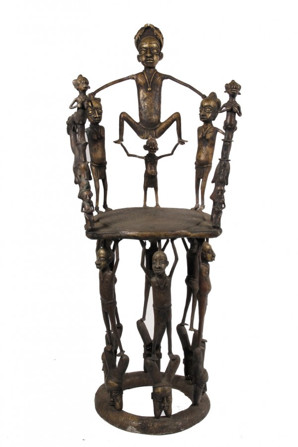 African Benin bronze throne chair with the figure of a queen and warriors to be sold in the Tribal Art Auction at Thomaston Place Auction Galleries on Saturday, March 23