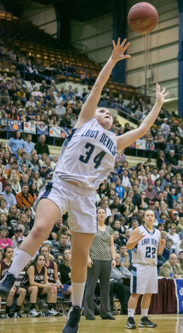 Calais' Taylorae Carter attempts a layup against Orono during the Eastern Maine Class C title game at the Bangor Auditorium on Saturday, February 23, 2013.