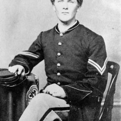 Abial Hall Edwards of Casco was 20 years old and already a combat veteran when he posed for Portland photographer A.C. Lewis, likely in late 1863. Now a corporal in the 29th Maine Infantry Regiment, Edwards had developed a wartime romance-by-mail with Anna Lucinda Conant; she worked in a Lewiston textile mill.
