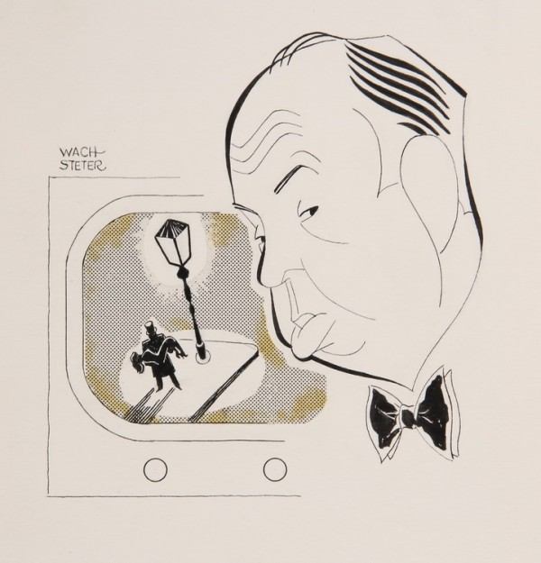 Caricature of Alfred Hitchcock, created by renowned artist George Wachsteter (1911-2004), to be sold along with 400+ other celebrity drawings on Sunday, March 24 at Thomaston Place Auction Galleries