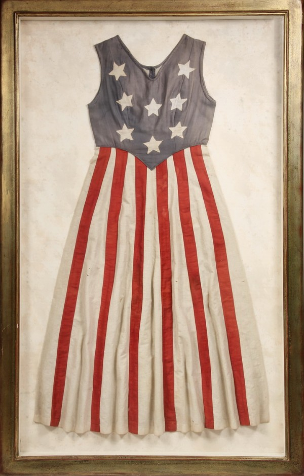 Framed circa 1870-80 Centennial stars and stripes dress that brought $7,762.50 at Thomaston Place Auction Galleries