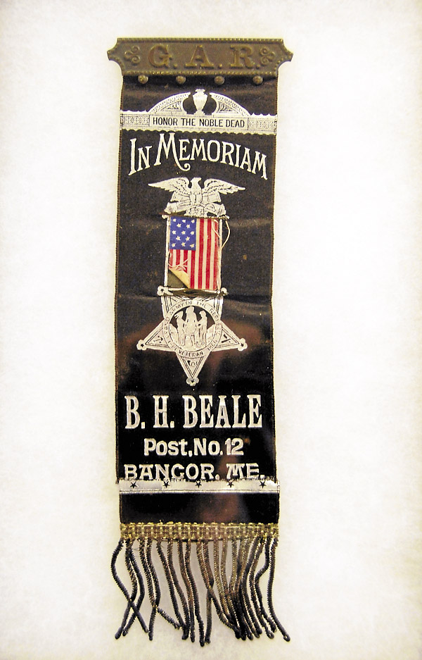 When attending a funeral of a Civil War veteran, as they did when Samuel Guess died in 1910, members of B.H. Beale Post No. 12, Grand Army of the Republic, would wear a mourning ribbon designed specifically for the post. This ribbon is displayed at Maritime International in Bangor.