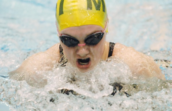 Mount Desert Island's Avalon Kerley swims to a fourth-place finish in the 100-yard breaststroke at the Class B state swim meet at the University of Maine's Wallace Pool in Orono Tuesday.