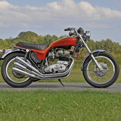 Rare vintage motorcycles from all over New England will roll into Owls Head on Saturday, August 31 and Sunday, Sept. 1 for the popular Vintage Motorcycle Meet. Pictured is a 1973 Triumph Hurricane Motorcycle recently sold at the 36th Annual New England Auto Auction. The motorcycle is one of 1,171 ever produced.