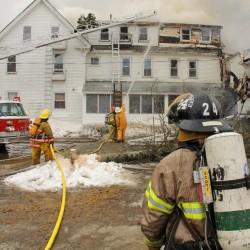Fire Fighters battle blaze in Unity Maine.