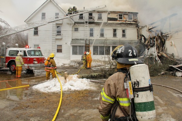 Fire Fighters battle blaze in Unity Maine.