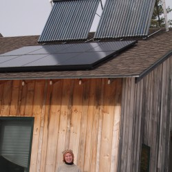 Jen Albee shows off the two solar energy installations at her work, ReVision Energy.