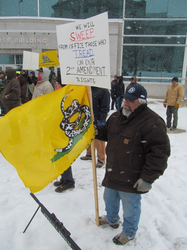 Terry Savage of Bar Harbor was among the approximately 150 people who turned out for a rally in support of gun rights on Friday, Feb. 8, 2013, at the State House in Augusta.