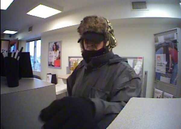 Surveillance footage of a man suspected of robbing KeyBank in Waterville on Thursday, Feb. 21, 2013.