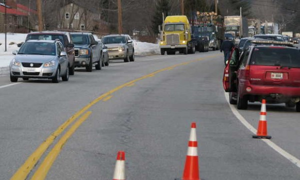 West-bound traffic waits from Hanover near Gordie Howe's Store on Route 2 all the way back to Route 5 in Rumford while emergency responders handled a multi-vehicle accident near the store that involved two school buses. The highway was closed for a few hours.