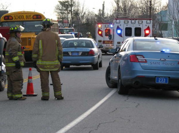 Route 2 in Hanover was shut down for a few hours on Friday afternoon following a multivehicle accident involving two schoolbuses. It is believed that only one person was seriously injured.