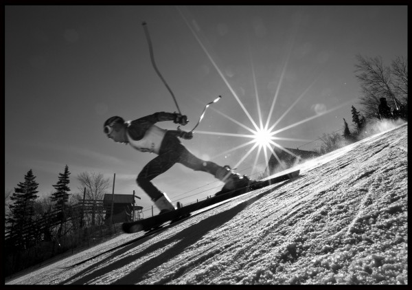 Henry Townsend, a student at Carrabassett Valley Academy, pushes off on a practice run before competing in the Eastern Cup Super G, Tuesday, Feb. 5, 2012, at Sugarloaf.