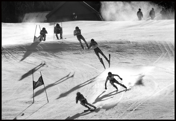 A composite image shows Travis Ahmann of Green Mountain Valley School catching some air of a jump in the Eastern Cup Super G, Tuesday, Feb. 5, 2012, at Sugarloaf.