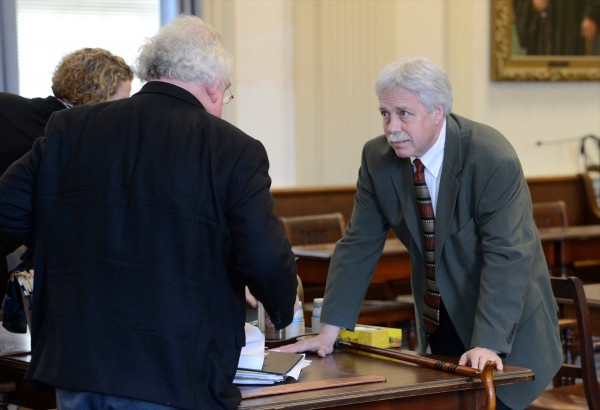 Defendant Mark Strong Sr., right, talks with his attorney Daniel Lilley after a hearing Tuesday morning, Feb. 19, 2013, in York County Superior Court.