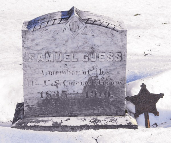 Samuel Guess escaped slavery in Louisiana during the Civil War, served with the 41st United States Colored Troops, and moved to Bangor after the war. He worked at various manual jobs and held the elected position of field-driver in Bangor. Guess lies buried in the family plot at Mount Hope Cemetery in Bangor