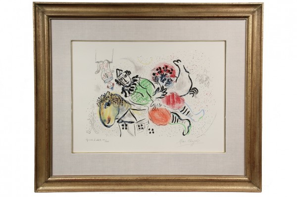 'Le Cirque Ambulant' a signed color lithograph by Marc Chagall (Russia/France, 1887-1985) that brought $16,100 at Thomaston Place Auction Galleries