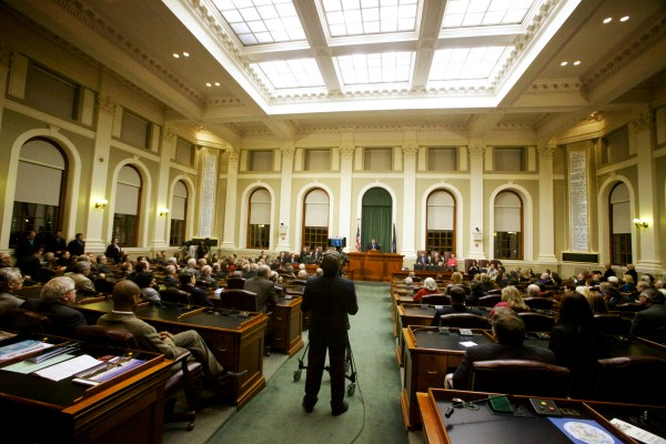Maine Gov. Paul LePage delivers his State of the State address in in the house chambers in Augusta Tuesday, Feb. 5, 2013.