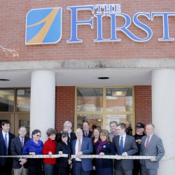 The First, a bank headquartered in Damariscotta, opened its new branch at 145 Exchange St., Bangor, with a ribbon-cutting ceremony held on Monday, Feb. 25.