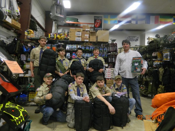 Maine Military Supply owner, Frank Spizouco, recently donated to Troop 61 of Sangerville some cold weather camping gear