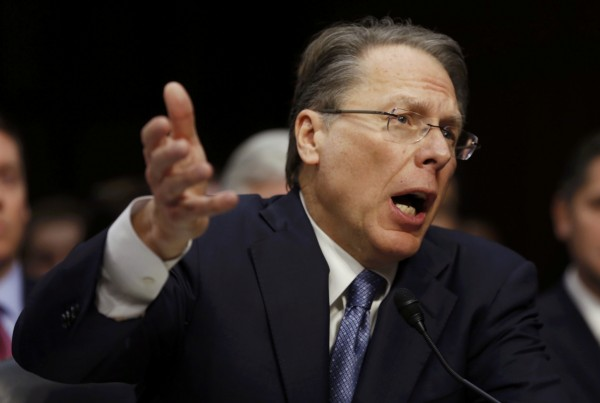 Wayne LaPierre, CEO of the National Rifle Association, testifies during a hearing held by the Senate Judiciary committee about guns and violence on Capitol Hill in Washington, January 30, 2013.