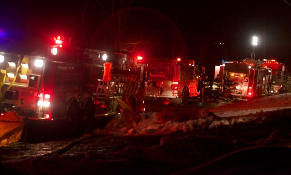 Firefighters from several departments responded to a house fire in Woolwich Tuesday night on the Middle Road.