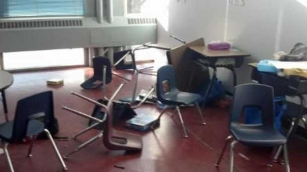 Lewiston schools Superintendent Bill Webster showed this photo of overturned chairs in a Lewiston classroom to legislators this week, explaining the damage was done by a first-grader who also broke the teacher's nose. He said the teacher could not touch the boy because the law prohibits it.