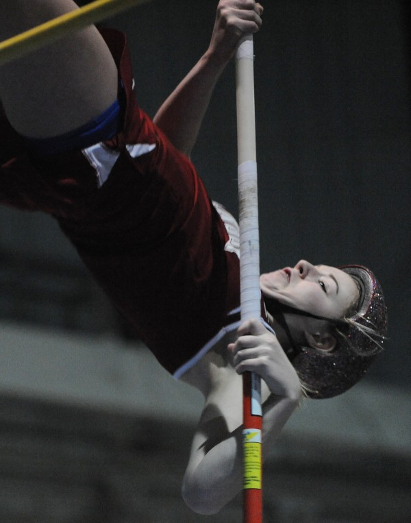 Bangor's Abby Reynolds clears 9 feet on the pole vault during the PVC Eastern Maine Indoor Track Championship  Monday at the UMaine on Monday. Reynolds went on to win the event by clearing 10 feet.