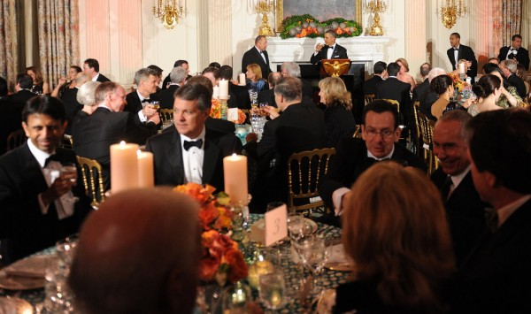 President Barack Obama offers a toast during a event with the National Governors Association in the State Dining Room of the White House in Washington, D.C., Sunday, February 24, 2013.