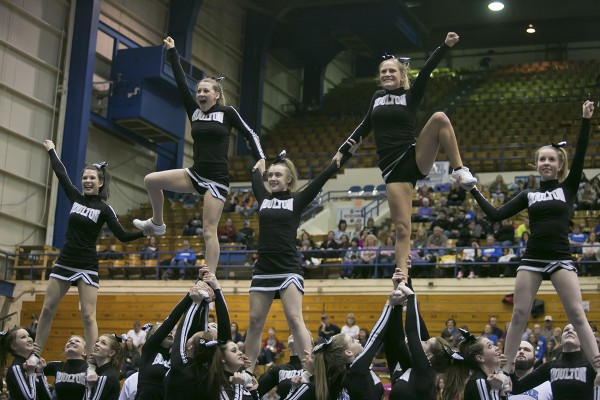 Members of the Houlton cheering team perform their routine during the Class C state cheering championships at the Bangor Auditorium Monday, Feb. 11, 2013. Houlton finished fourth.