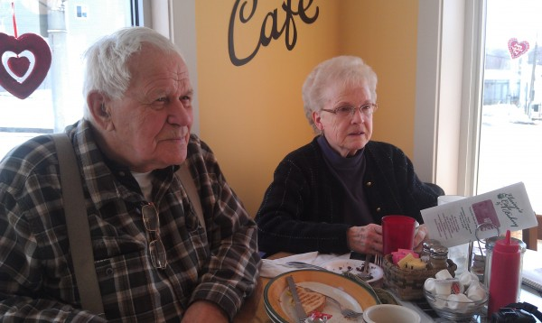 Gary and Jean Robinson chat after breakfast at Elaine's Cafe and Bakery on Main Street in Milo on Thursday, Feb. 14, 2013, when the town celebrated the grand opening of the Milo Heritage Building. The new storefront was built on one of the lots that was ravaged by a fire that tore through the downtown in 2008. The couple has lived in Milo since 1954 and was stunned by the blaze, and is happy to see the new development, the Robinsons said.