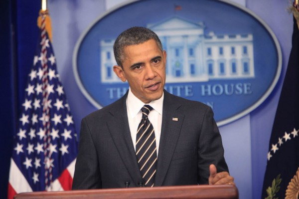 President Barack Obama makes an announcement on sequestration in the White House Press Briefing Room on February 5, 2013.